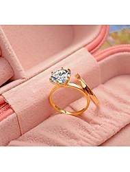 preiswerte -Damen Ring Strass Gold Silber Champagner Kubikzirkonia Titanstahl vergoldet Kreisförmig Klassisch Elegant Hochzeit Jahrestag Party