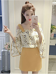 cheap -Women's Other Daily Casual Sweet Summer T-shirt Skirt Suits,Solid Floral Boat Neck 3/4 Length Sleeve Chiffon Micro-elastic