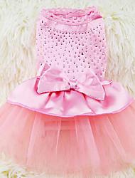 baratos -Cachorro Vestidos Roupas para Cães Princesa Verde Azul Rosa claro Preto/Branco Khaki Chifon Algodão Ocasiões Especiais Para animais de