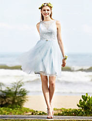 A-Line Bateau Neck Knee Length Lace Tulle Bridesmaid Dress with Sash / Ribbon Crystal Brooch by LAN TING BRIDE®