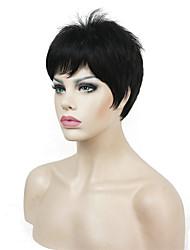 billiga -Syntetiska peruker Rak Blond Pixie-frisyr Syntetiskt hår Blond / Vit Peruk Dam Korta Utan lock Mörkbrun