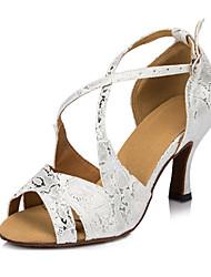 """Women's Latin Silk Sandals Performance Criss-Cross Cuban Heel Silver 2"""" - 2 3/4"""" 3"""" - 3 3/4"""" Customizable"""