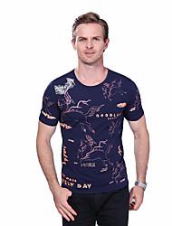 Herren Tierfell-Druck Einfach Übergröße Lässig/Alltäglich T-shirt,Rundhalsausschnitt Sommer Kurzarm Baumwolle Elasthan Mittel