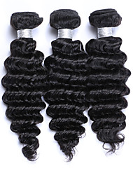 Factory Direct Selling Medium Size 3Pcs/Lot 300g Brazilian Remy Human Hair Wefts 100% Unprocessed Natural Black Deep Wave Human Hair Weaves/Extensions