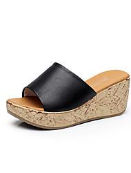 preiswerte -Damen Schuhe Leder Frühling / Sommer Komfort High Heels Keilabsatz / Creepers Peep Toe Fuchsia / Silber / Grün / Keilabsätze