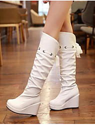 Women's Shoes Nubuck leather PU Fall Winter Comfort Boots For Casual White Black Beige