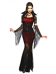 cheap -Cosplay Costumes/Party Costumes Vampires Halloween Red & Black Lace Spandex / Terylene Skirt / Sleeves / Belt / Necklace