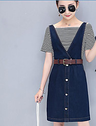 Women's Sports Going out Casual/Daily Casual Vacation Glamorous & Dramatic Spring Summer T-shirt Dress Suits,Striped Textured SexyRound