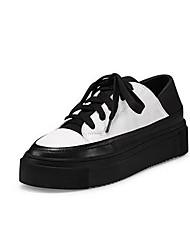 Damen Sneaker Komfort Leder Sommer Normal Komfort Weiß Schwarz Flach