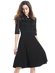 Womens Elegant Vintage See Through Hollow Out Lace Shirt Collar Bottom Autumn Contrast  Cutout Tunic Work office Vintage Casual Party A Line Dress