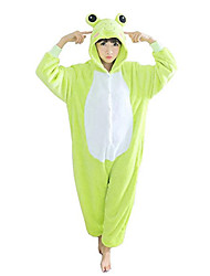 Kigurumi Pajamas Frog Leotard/Onesie Festival/Holiday Animal Sleepwear Halloween Green Patchwork Polar Fleece Kigurumi For Unisex