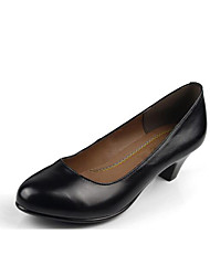 Feminino Saltos Sapatos formais Couro Primavera Outono Sapatos formais Salto Grosso Preto 7,5 a 9,5 cm