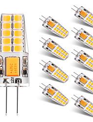 billige -BRELONG® 10pcs 2W 300lm G4 LED-lamper med G-sokkel T 20 LED Perler SMD 2835 Varm hvid Hvid 12V
