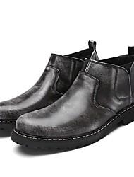 Herren Stiefel formale Schuhe Leder Frühling Grau Braun Flach