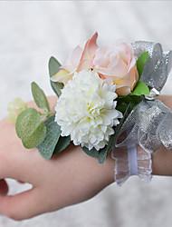 """Недорогие -Свадебные цветы Букетик на запястье Свадьба Полиэстер 3,94""""(около 10см)"""