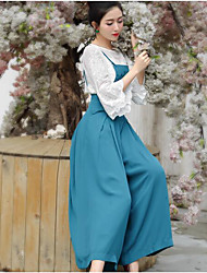 cheap -Women's High Waist Micro-elastic Wide Leg Overalls Pants,Chinoiserie Solid Silk Summer