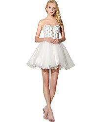 cheap -Princess Fit & Flare Strapless Short / Mini Organza Honeymoon Cocktail Party Dress with Beading by Sarahbridal