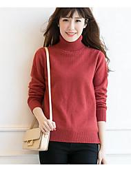 Standard Pullover Da donna-Casual Romantico Tinta unita A collo alto Manica lunga Cashmere Primavera Medio spessore Elasticizzato