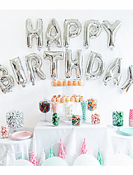 cheap -16 Inch Glod/Silver - 13pcs HAPPY BIRTHDAY Foil Letters Balloons Kids Birthday Party Decorations Beter Gifts® Party Supplies