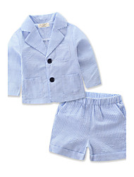 cheap -Boys' Striped Stripe Clothing Set, Cotton Polyester Summer Long Sleeves Stripes Blue