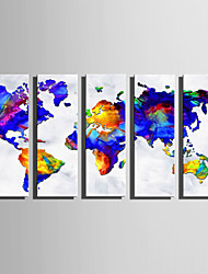 cheap -E-HOME Stretched Canvas Art Fantastic Color Map Decoration Painting Set Of 5