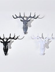 cheap -Animal Head Hanging Decoration Retro Antlers Hook Wall Decoration Vintage Resin Wall Rack