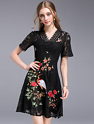 cheap -Women's Party Going out Vintage Street chic A Line Sheath Dress,Embroidered V Neck Above Knee Short Sleeves Cotton Polyester Others Summer