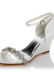 cheap -Women's Shoes Satin Summer / Fall Comfort Sandals Wedge Heel Open Toe Chain for Wedding / Party & Evening / Dress White