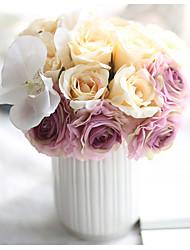 Недорогие -1 Филиал Полиэстер Розы Букеты на стол Искусственные Цветы