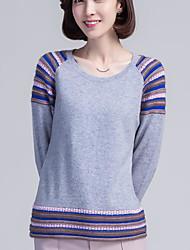 Standard Cashmere Da donna-Casual Semplice Con stampe Rotonda Manica lunga Altro Autunno Inverno Medio spessore Elasticizzato