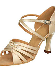 Damen Latin Seide Sandalen Aufführung Verschlussschnalle Stöckelabsatz Beige 7,5 - 9,5 cm Maßfertigung