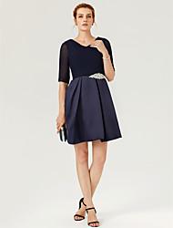 preiswerte -A-Linie V-Ausschnitt Kurz / Mini Tüll / Stretch - Satin Cocktailparty Kleid mit Kristall Verzierung / Plissee durch TS Couture®