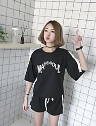 T-shirt Pantalone Completi abbigliamento Da donna Quotidiano Casual Casual Primavera Estate,Alfabetico Rotonda Pantaloni corti Anelastico