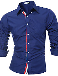 Men Birthday Business Casual Simple Street chic Shirt,Solid Shirt Collar Long Sleeve Cotton