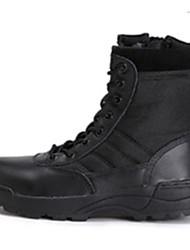 cheap -Men's Boots Ankle Strap Tulle Fall Winter Athletic Outdoor Office & Career Lace-up Low Heel Black Khaki Under 1in