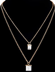Pendant Necklaces Chain Necklaces Women's Layered Necklaces Square Alloy  Friendship Elegant Party Casual Ceremony Movie Jewelry