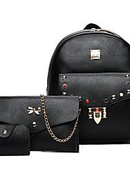 abordables -Mujer Bolsos PU Mochila 3 piezas de monedero conjunto para Casual Otoño Todas las Temporadas Blanco Negro Rosa Gris