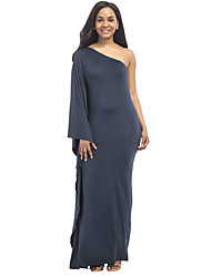 cheap -Women's Party Plus Size Sexy Sheath Dress,Solid One Shoulder Maxi Long Sleeves Polyester Spandex Summer Mid Rise Micro-elastic Thin