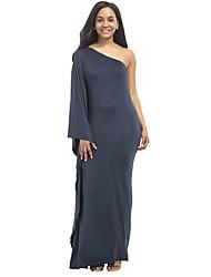 Women's Solid One Shoulder Party Club Bodycon Plus Size Sexy Sheath Ruffle Side Maxi Dress