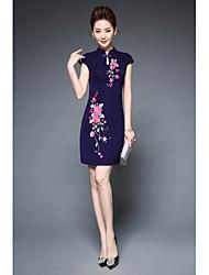 Feminino Bainha Vestido,Festa Para Noite Vintage Moda de Rua Temática Asiática Bordado Colarinho Chinês Acima do Joelho Manga Curta