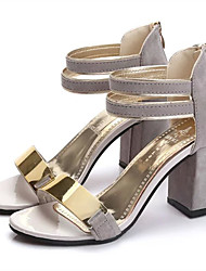 cheap -Women's Shoes Nubuck leather Spring / Summer Club Shoes Sandals Chunky Heel Open Toe Metal Beige / Gray / Red / Block Heel Sandals