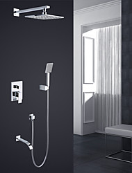 Modern Style Basic Wall Mounted Rain Shower Handshower Included Ceramic Valve Chrome , Shower Faucet