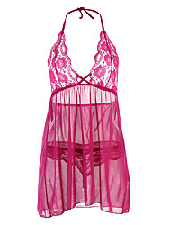 cheap -Women's Plus Size Sexy Lace Babydoll & Slips NightwearSexy Lace Solid-Translucent