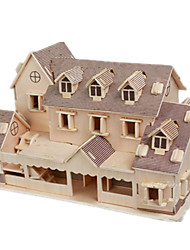 cheap -3D Puzzles Jigsaw Puzzle Wood Model Model Building Kit Famous buildings House Architecture 3D DIY Wood Classic Unisex Gift