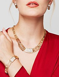 cheap -Women's Jewelry Set / Statement Necklace / Earrings  -  18K Gold Plated, Gold Plated Vintage, Party, Casual Golden Necklace For Party, Special Occasion, Anniversary / Bracelet / Ring