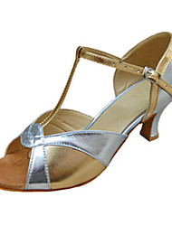 Da donna Balli latino-americani Similpelle Sandali Esibizione Con fermaglio di chiusura Tacco cubano Argento 5 - 6,8 cm Personalizzabile