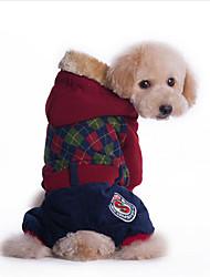 economico -Cane Felpe con cappuccio Tuta Abbigliamento per cani Traspirante Casual Formale Rosso Verde Costume Per animali domestici