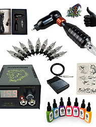 cheap -Tattoo Machine Starter Kit 1 rotary machine liner & shader LCD power supply 1 x aluminum grip 5 pcs Tattoo Needles