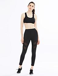 billige -Dame Aktiv Elastisk Skinny Aktiv Bukser, Alm. taljede Polyester Spandex Ensfarvet Alle årstider