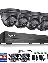cheap -SANNCE® 8CH CCTV Security System Onvif 1080P AHD/TVI/CVI/CVBS/IP 5-in-1 DVR with 4*2.0MP Night Vision Weatherproof Cameras No HDD